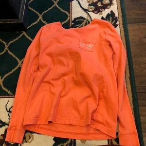 Long sleeve vineyard vines coral shirt